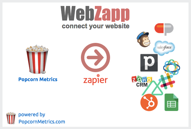 WebZapp lets you push web leads direct to any CRM via Popcorn Metrics and Zapier